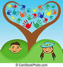 Boy and a girl face under stylized tree