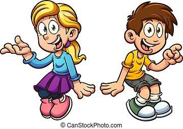Boy and girl sitting