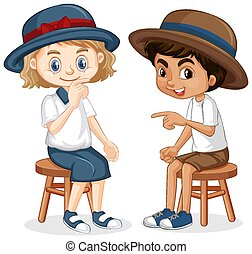 Boy and girl sitting on the chairs
