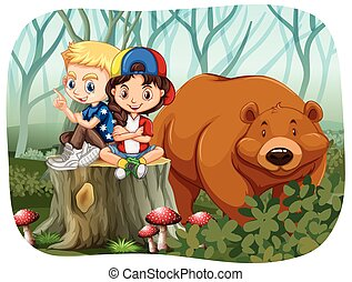 Boy and girl sitting with a bear