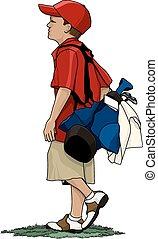 Boy Golfer with Golf Bag