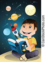 A vector illustration of a boy reading an astronomy science book