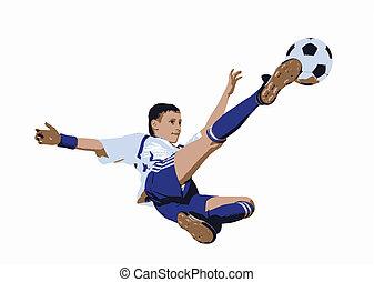 Boy with soccer ball, Footballer (Vector)