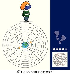 Boy with VR headset in space. Maze games find the path.