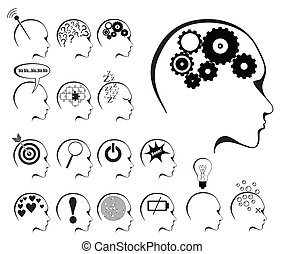 brain activity and states icon set in white background
