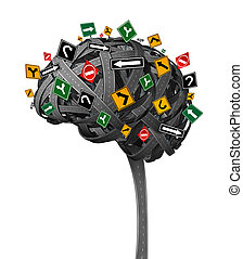 Brain direction neurology concept for dementia with tangled roads in the shape of the human thinking organ with confusing street traffic signs as a health symbol and metaphor for memory loss and confusion on a white backhground.