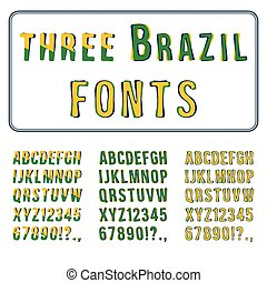 Brazil Style Font Set. Hand Drawn Alphabet with Digits. Vector