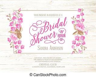 Bridal shower invitation with ivory background on wooden pattern, vintage floral invitation for spring or summer bridal shower. Vector illustration.