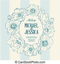 Bridal Shower invitation card with poppy frame over gray background. Vector illustration.