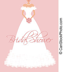 EPS10 vector illustration of a beautiful bride's dress. Background and bride are grouped and placed on separate layers for easy editing.