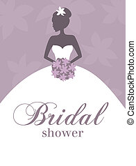 Illustration of a young elegant bride holding flowers. Perfect for bridal shower/wedding invitation.