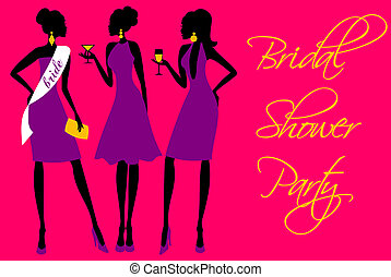 Invitation for a bridal shower party in bright colors.