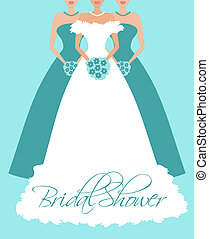 Vector illustration of a bride and two bridesmaids. Background, bride and each bridesmaid are placed on separate layers for easy editing.