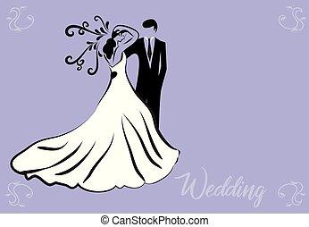 Bride groom wedding symbol card