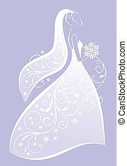 bride in white wedding dress, bridal shower, vector illustration