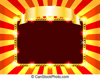 Bright and fun sunburst, stripe and lights billboard or placard with gold ribbon above, ready for an announcement.