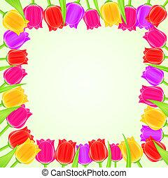 Bright Colorful Tulip Square Frame