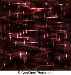 Bright cosmic glowing dark cherry triangles.