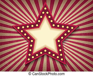 Brightly glowing star retro cinema neon sign. Circus style show banner template. Background vector poster image