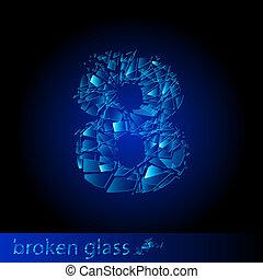 One symbol of broken eight - digit four. Illustration on black background