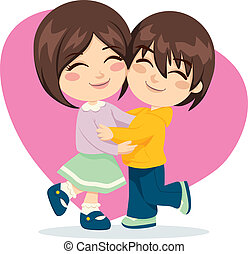 Adorable brother and sister happy together in lovely hug