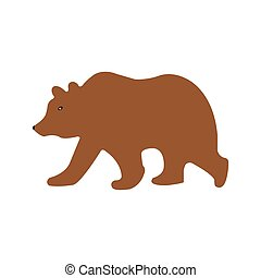 Brown Grizzly Bear Vector Illustration on White