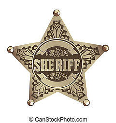 brown vector Sheriff star on white background