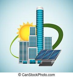 building panel solar environment -energy clean