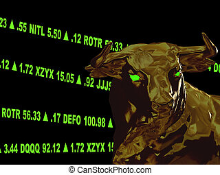 This is a variation with made up stock symbols, color changes, and position changes. A closeup of a bull's head with green gaining stock tickers scrolling around it. This represents a bull market or aggresive growth. It is on a black background.
