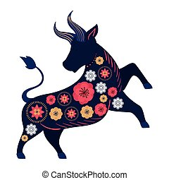 bull with flower in two feet on a white background