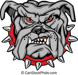 Cartoon Vector Image of a Bulldog Mascot Head