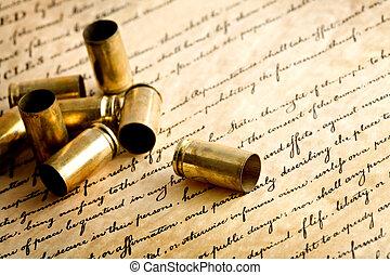 bullet casings on bill of rights