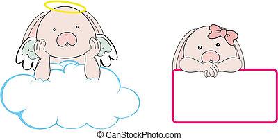 bunny angel cartoon copyspace