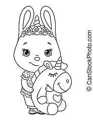Bunny in pajamas with a toy unicorn coloring page