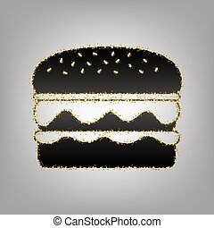 Burger simple sign. Vector. Blackish icon with golden stars at g