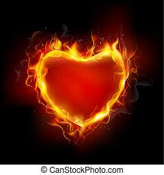 illustration of burning flame around heart on dark background
