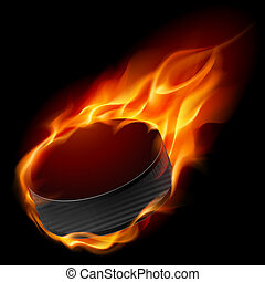 Burning hockey puck. Illustration for design on black background