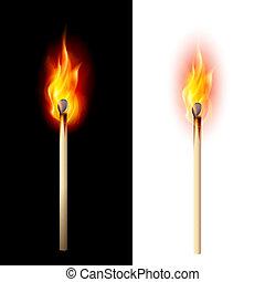 Realistic burning match. Illustration on white and black