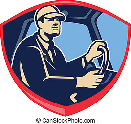 Illustration of a bus or truck driver driver inside vehicle viewed from side set inside shield crest done in retro style.