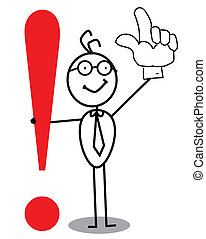Business Attention exclamation mark with up hand