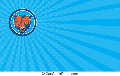Business card Grizzly Bear Head Front Circle Retro