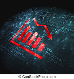 Business concept: pixelated Decline Graph icon on digital background, 3d render