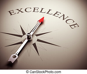 Compass needle pointing the word excellence, image suitable for business concept. 3D render illustration.