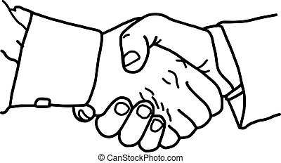 business handshake - vector illustration sketch hand drawn with black lines, isolated on white background
