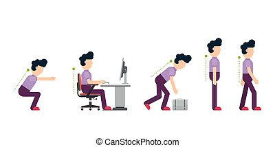 Business man showing the correct posture in different situations