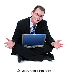 Business Man Sitting On Floor With Laptop Hands Out. Shot in studio over white with the Canon 20D.