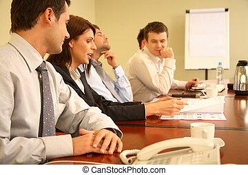 business people at informal meeting
