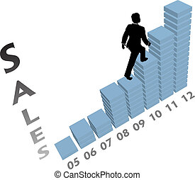 Business person climbs up a marketing monthly or yearly sales chart