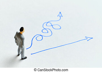 Business person concept for choosing a strategy path