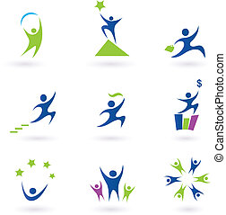 Vector set of businessman icons. In pack is included 9 blue icons with business, success and money themes. Vector Illustration.
